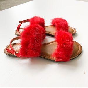 Forever Red Fuzzy Sandal